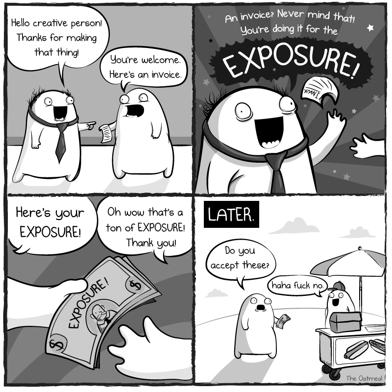 working for exposure by the oatmeal