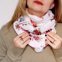 DIY vintage hankie patchwork circle scarf tutorial