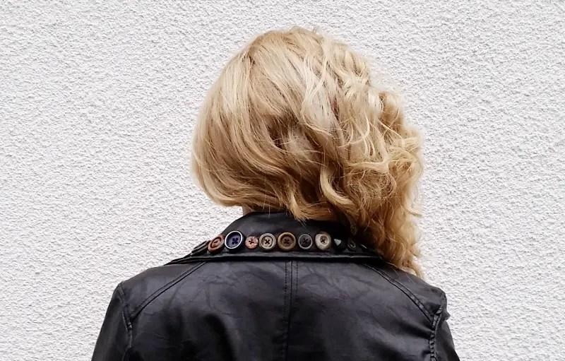 faux leather biker jacket button embellishment refashion back collar