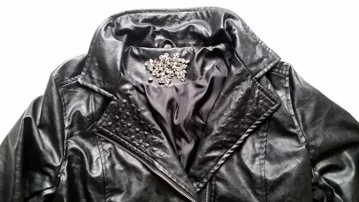 faux leather jacket button embellishment tutorial