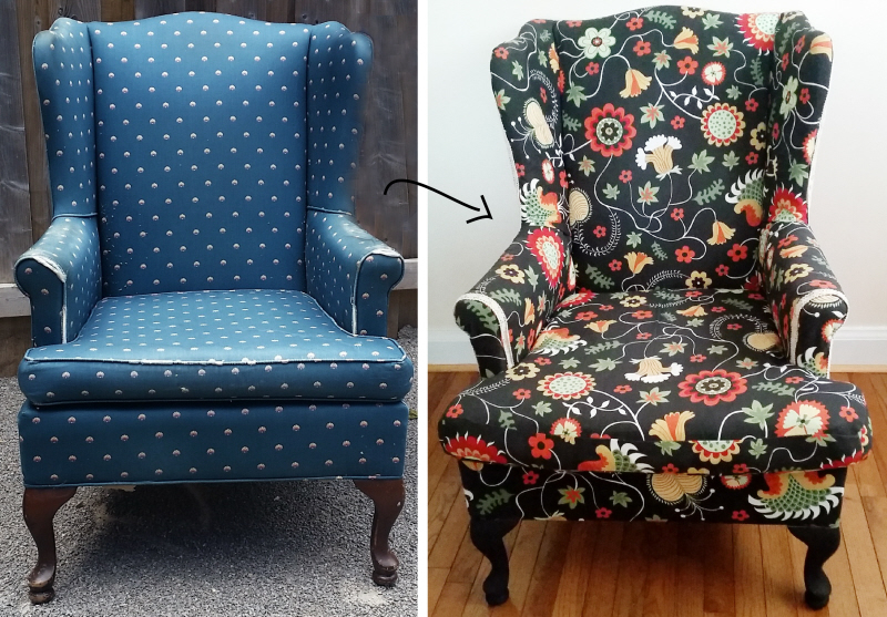 How to reupholster a wing back chair