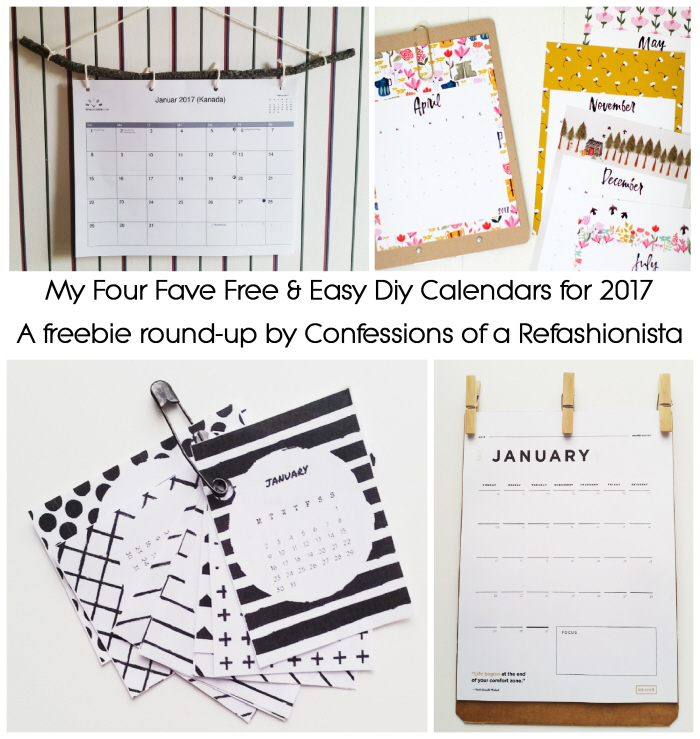 Free & easy DIY calendars for 2017