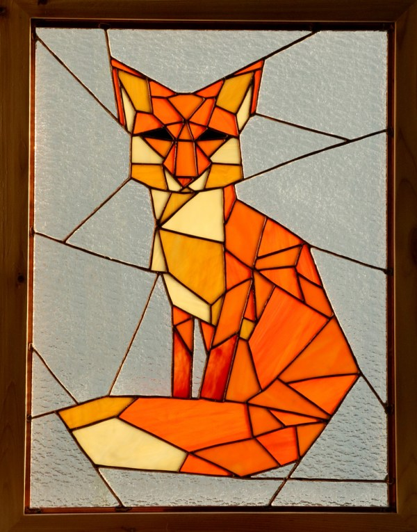 Geometric Fox Stained Glass Window Panel Awesome Sauce