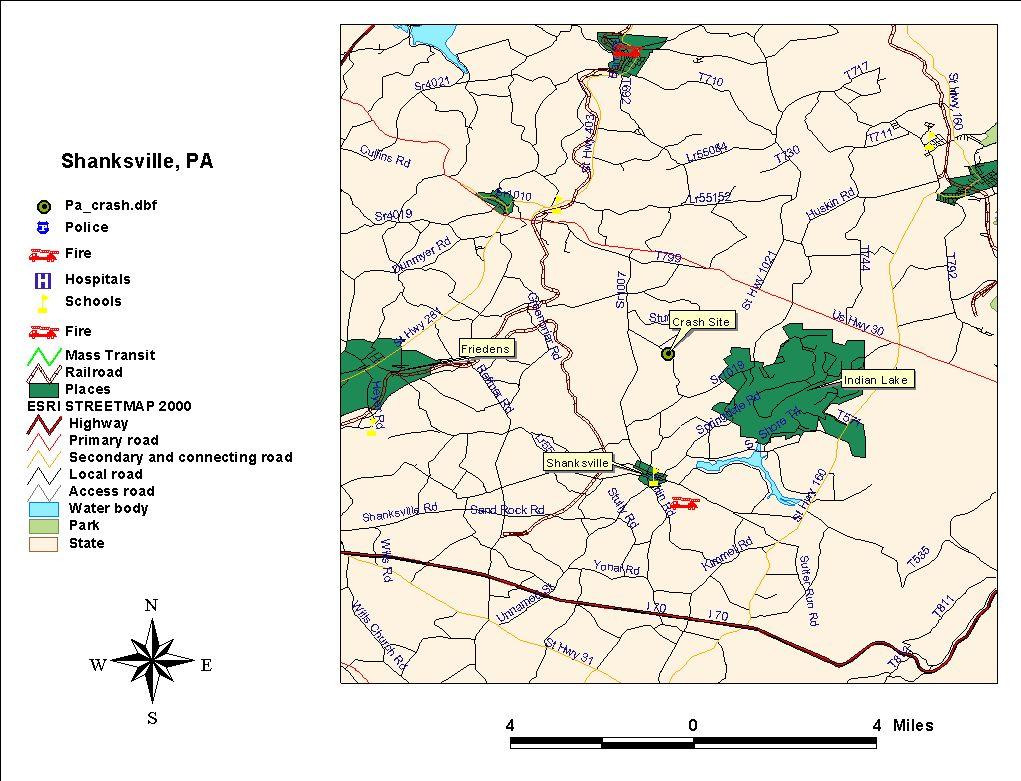 Map Depicting Flight 93's Crash Site Near Shanksville