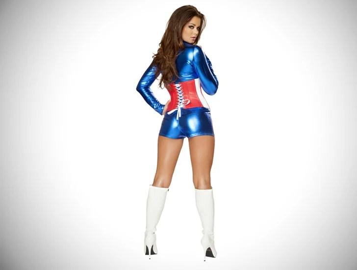 Traje cosplay de capitão américa feminino