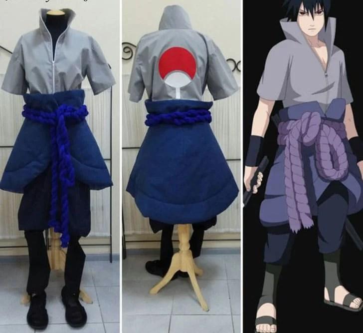Naruto Sasuke Uchiha Anime traje - trajes de anime para homens