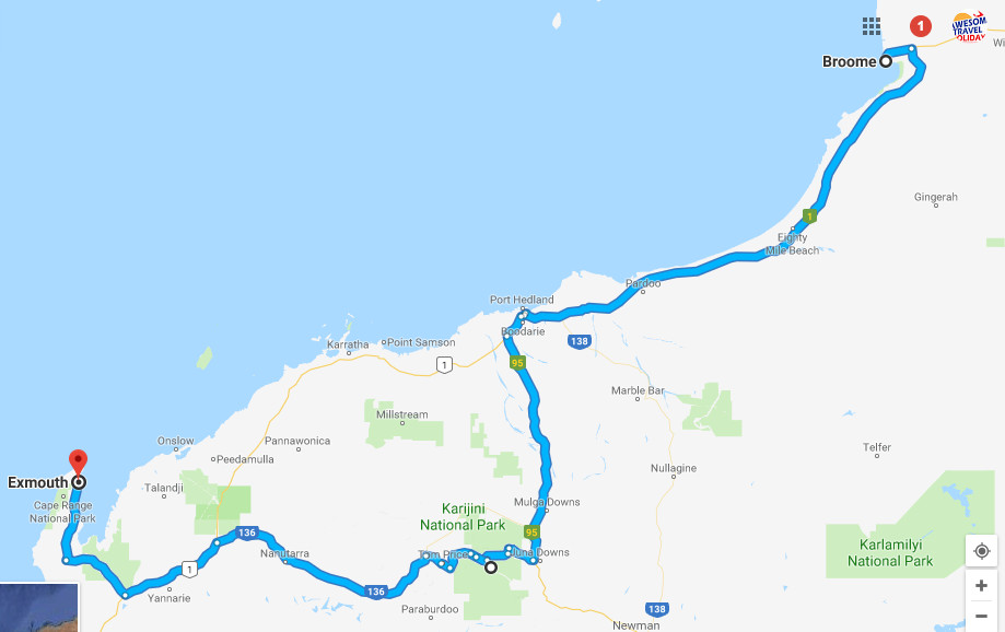 Google Map Exmouth to Broome