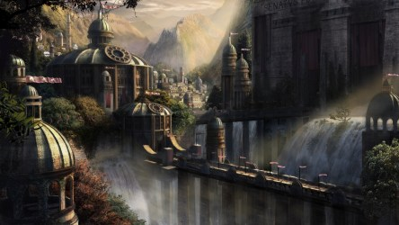 fantasy palace wallpapers space medieval backgrounds castle concept fortress cities waterfall water awesome hd digital