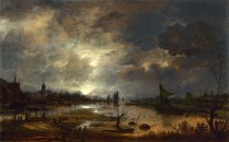 Full title: A River near a Town, by Moonlight Artist: Aert van der Neer Date made: about 1645 Source: http://www.nationalgalleryimages.co.uk/ Contact: picture.library@nationalgallery.co.uk Copyright (C) The National Gallery, London