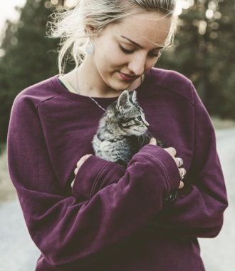 cute girl with kitten mobile