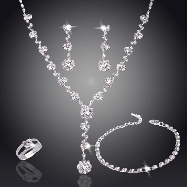 Silver Crystal Wedding Jewelry Set 3