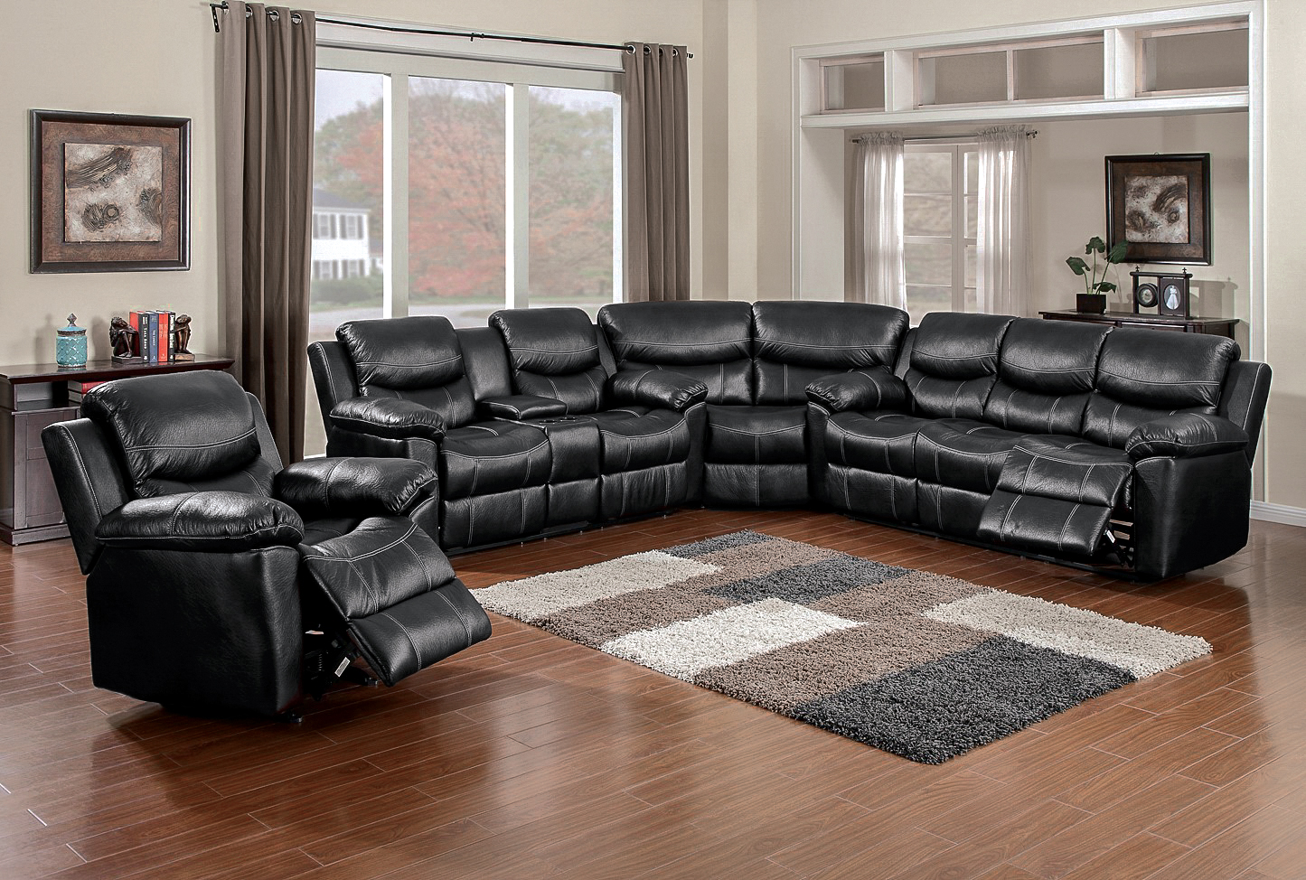 3pc recliner sofa set ligne roset nomade 66008 champion black sectional  awfco catalog site