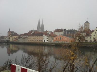 View from the island of Regensburg's UNESCO World Heritage Site - the Medieval City Center