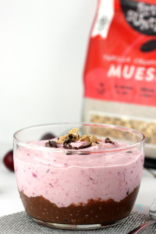Chocolate Cherry Protein Parfait (made with yogurt)