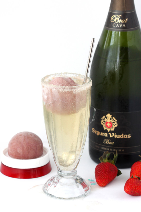 Poppin' Bubbles Float Strawberry Protein Smoothie Ball and sparkling wine
