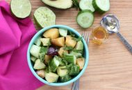 Plum Avocado Cucumber Salad, with honey and mint (gluten free, vegan friendly)