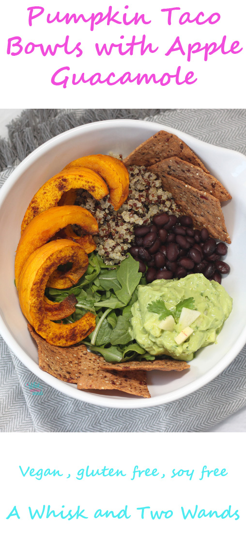 The taco bowl gets an update for fall with roasted pumpkin, apple guacamole, and sprouted Cranberry Pumpkin Tortilla Chips! Gluten free, vegan, soy free.