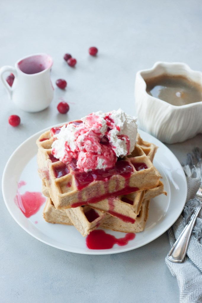 Chai Waffles with Cranberry Syrup