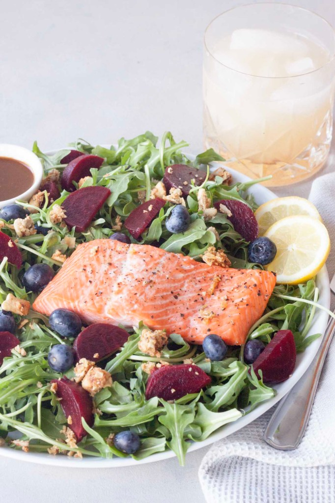 A Whisk and Two Wands, Berry and Beet Salad with Salmon