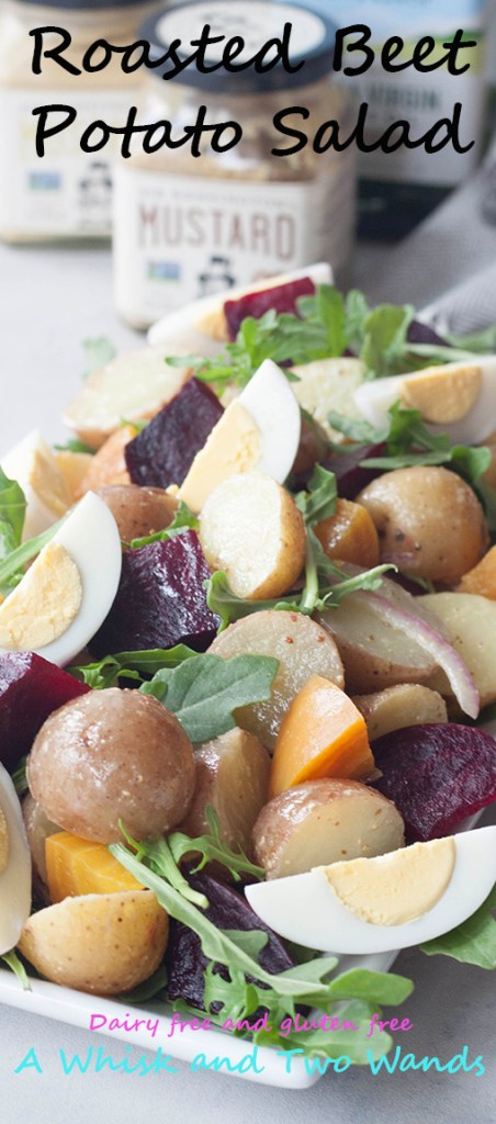 Roasted Beet Potato Salad isn't your grannys potato salad, this colorful salad has spunk, added nutrition, and it's own beet. A Whisk and Two Wands