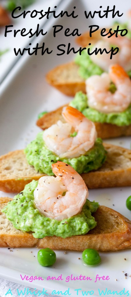 Crostini with Fresh Pea Pesto, A Whisk and Two Wands