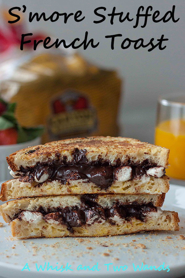 A morning that starts with gluten free S'more Stuffed French Toast is going to be a good day! Easy to make it's a real treat with healthier options and alternatives. Vegan friendly.