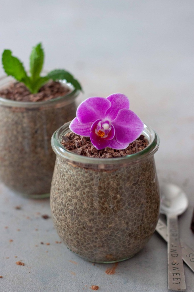chia pudding with chocolate chai and flower