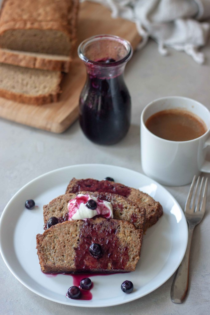 Zucchini Bread French Toast with Blueberry Maple Syrup