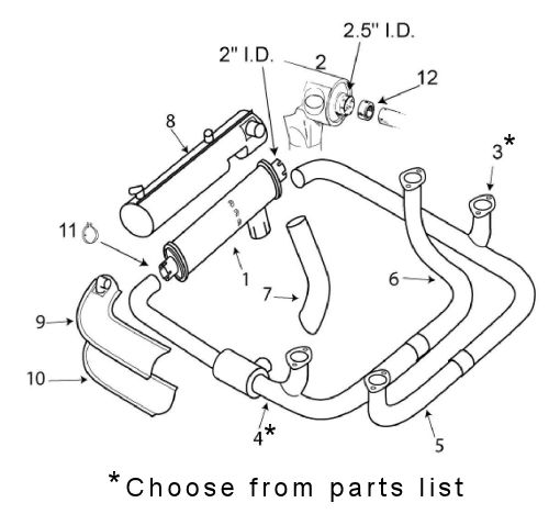 Piper 24-180 Comanche Exhaust System Itemized Parts List