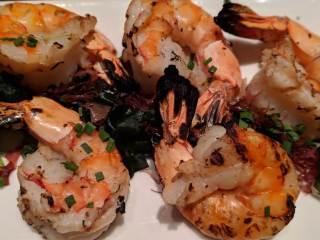 Simonsig Estate wine with shrimp