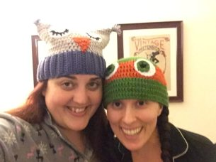 Night Owl and Ninja Turtle beanies for Roomie Christmas.