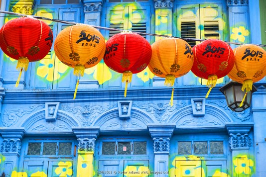Chinese lanterns & colourful old building, Singapore