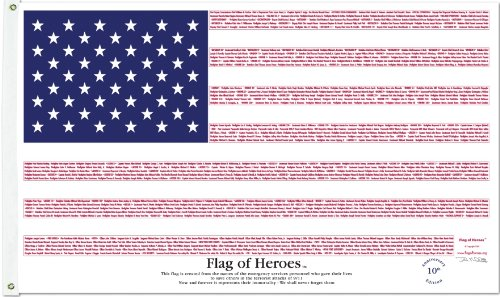 Flag Of Heroes  Honor 911  3 x 5 NYL GO  Overhead Door