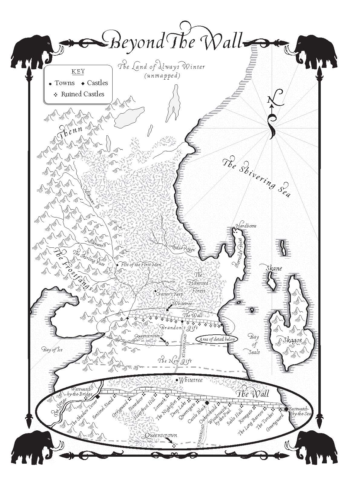 A Dance With Dragons Map Of Beyond The Wall