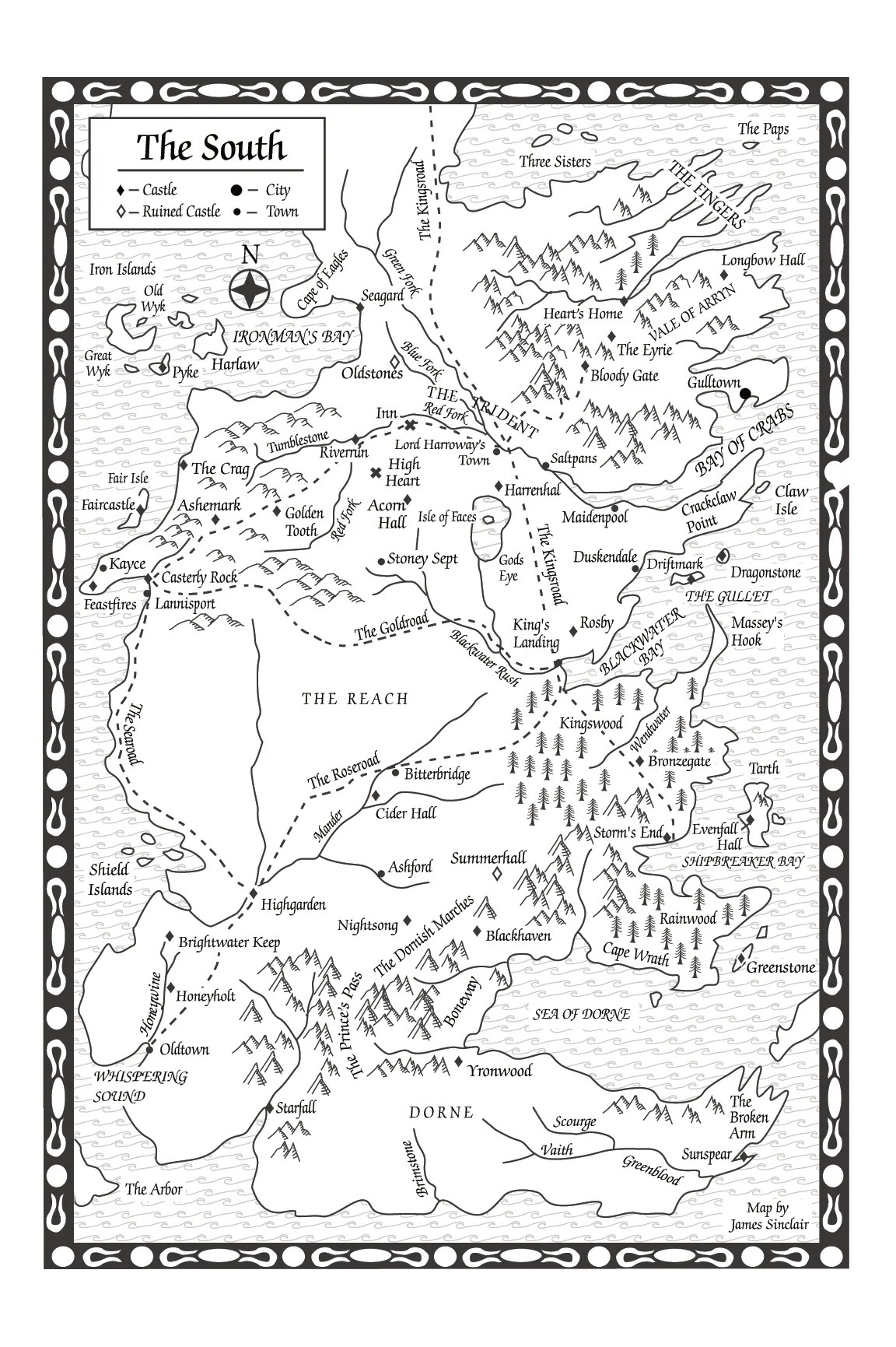 A Storm Of Swords Map Of The South