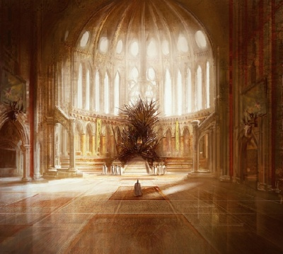 the Iron Throne in the Great Hall of the Red Keep