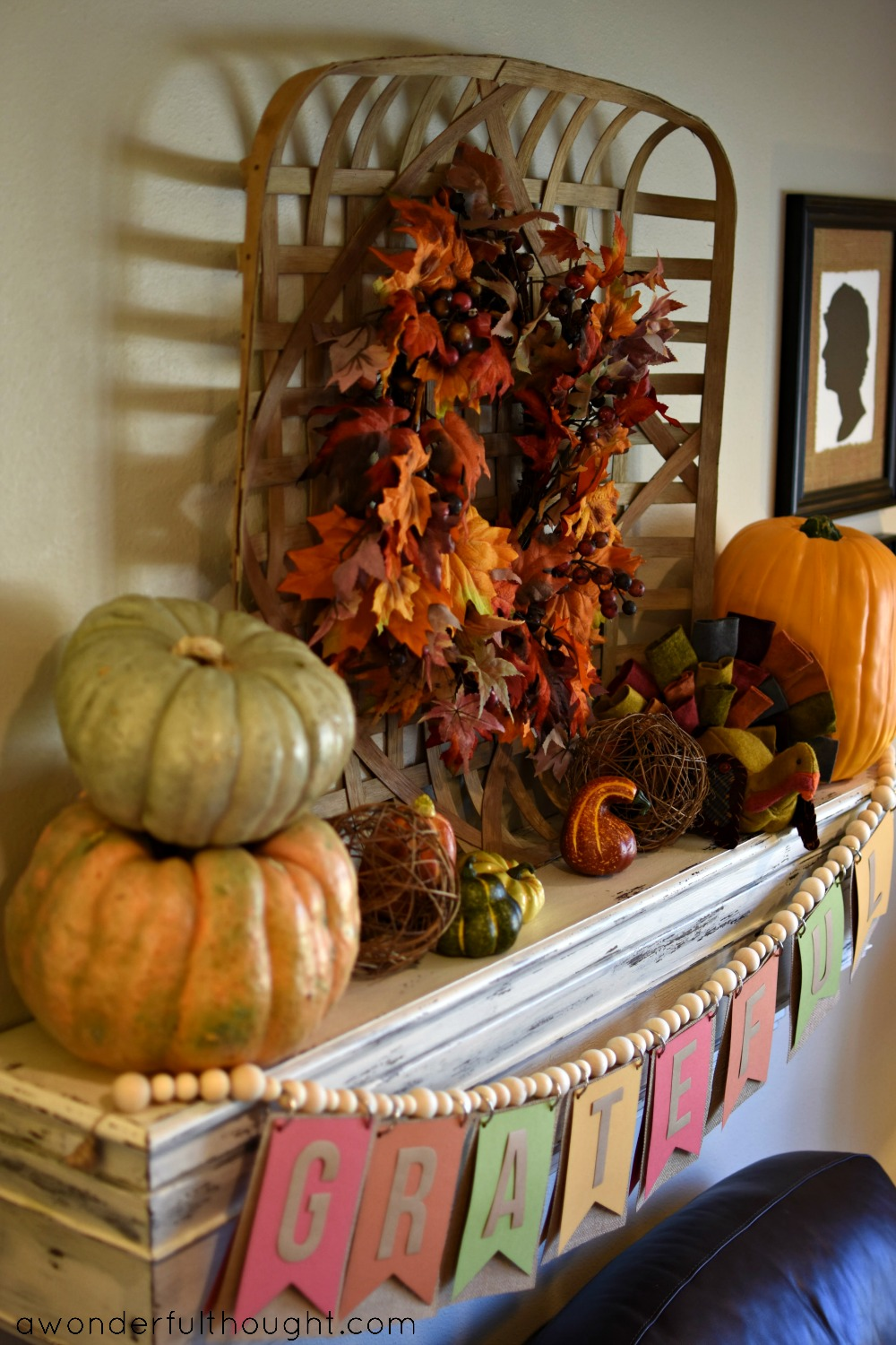 A Wonderful Thought | Thanksgiving Mantel | awonderfulthought.com