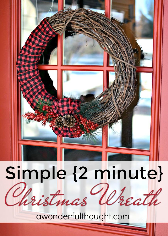 simple 2 minute wreath awonderfulthoughtcom - Simple Christmas Wreaths