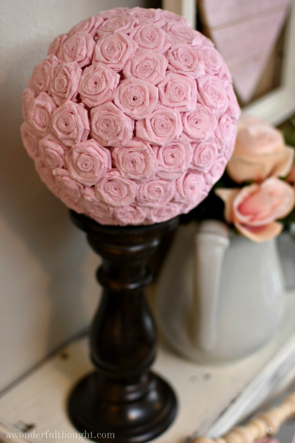 Diy crepe paper flower kissing ball a wonderful thought diy crepe paper flower kissing ball awonderfulthought mightylinksfo