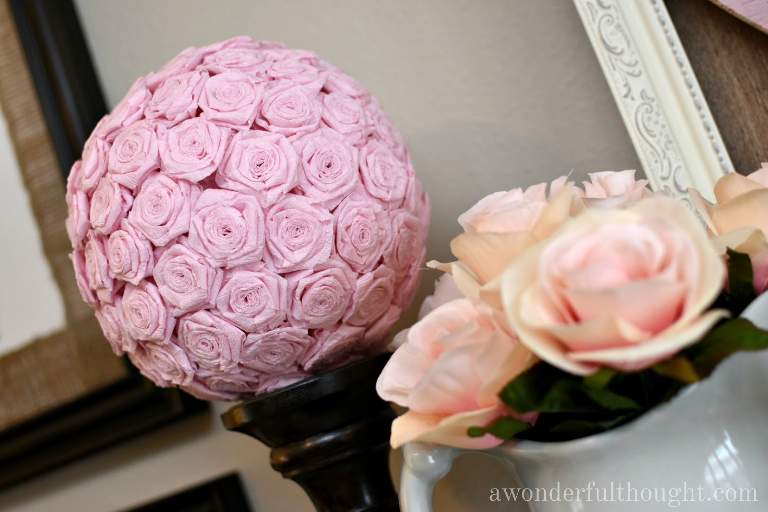 DIY Crepe Paper Flower Kissing Ball | awonderfulthought.com