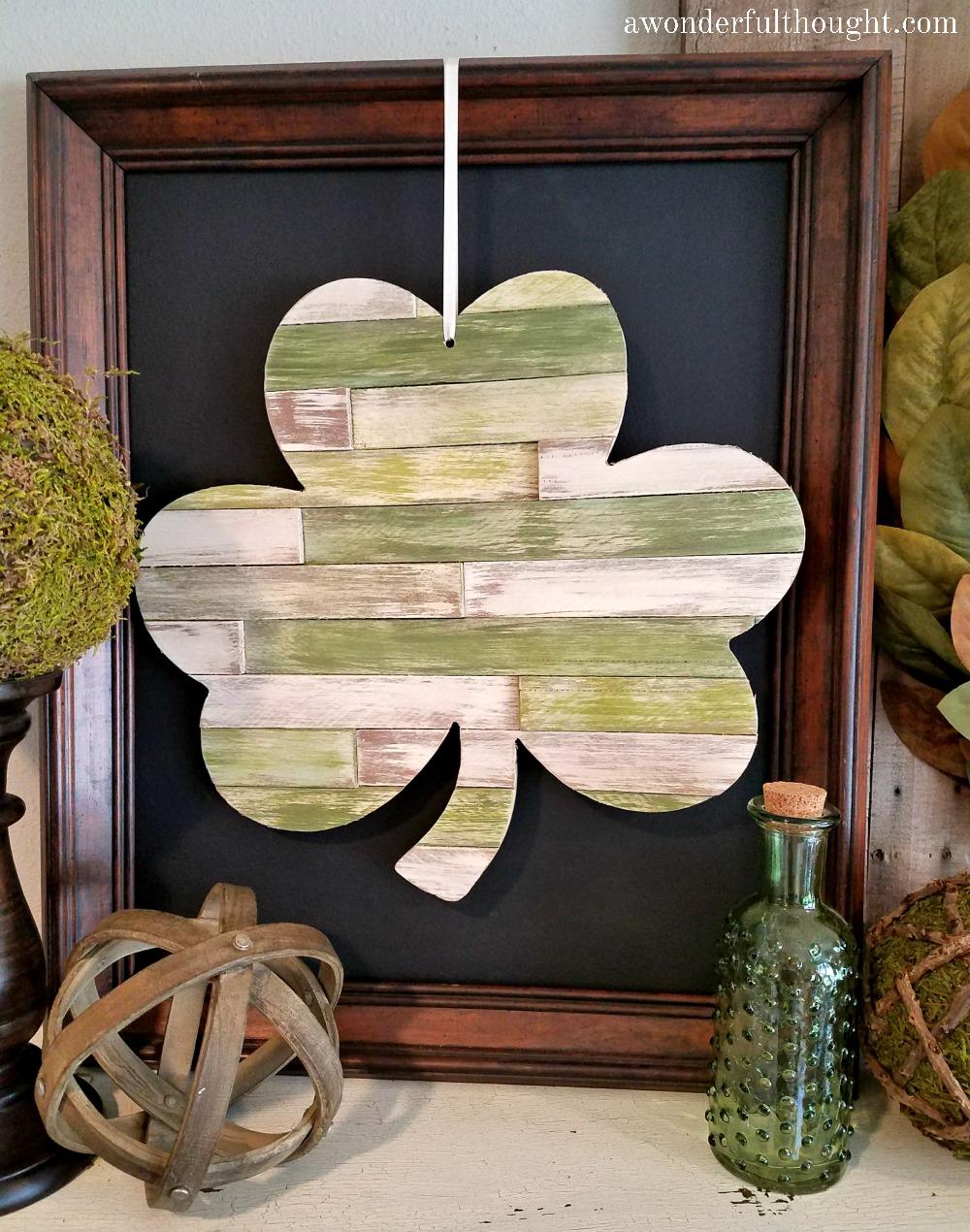DIY Wood Shim Shamrock | awonderfulthought.com