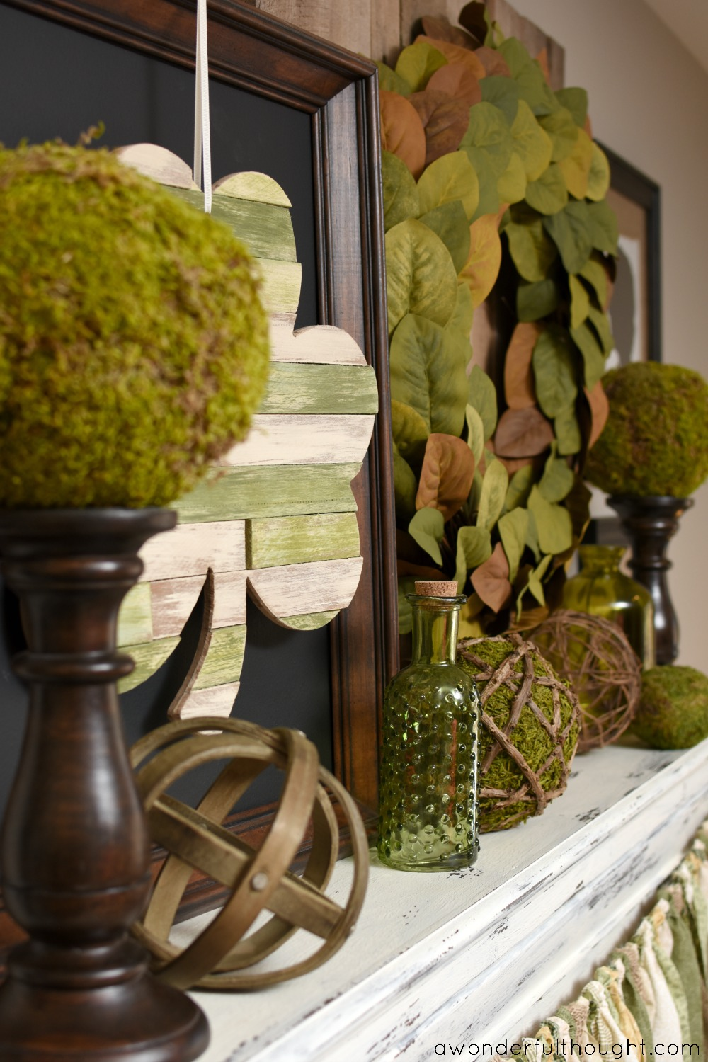 Shabby Chic St. Patrick's Day Mantel | awonderfulthought.com