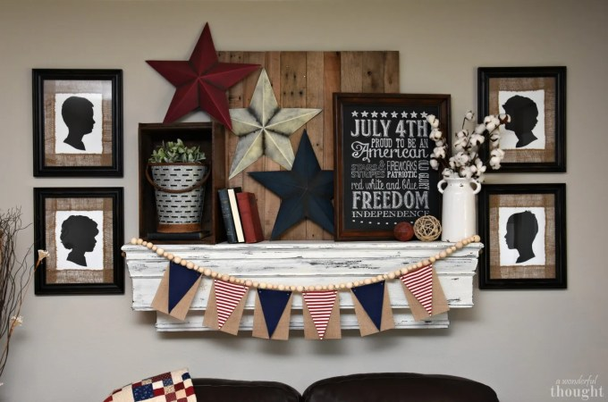 Get ideas for your decor from this patriotic 4th of July mantel | awonderfulthought.com