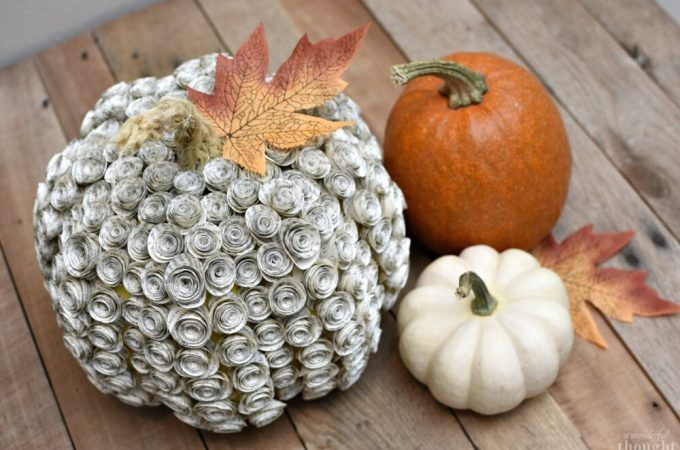Book Page Rose Pumpkin DIY #diypumpkin #pumpkinmakeover #fallcraft #awonderfulthought.com