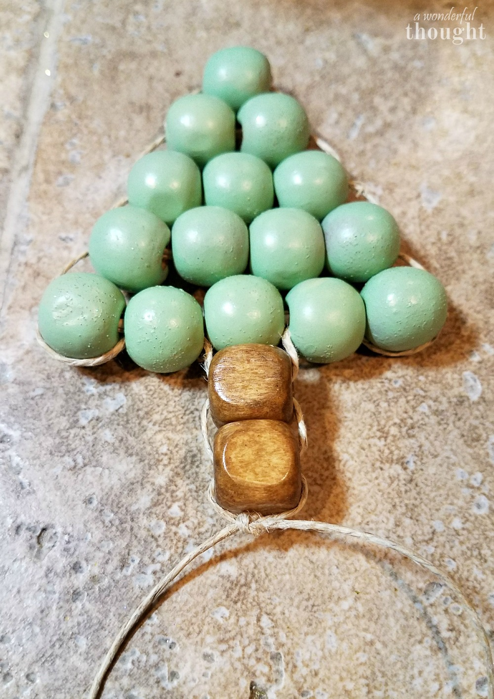 DIY Ornament Wooden Bead Christmas Tree #diyornament #christmasornament #ornament #awonderfulthought