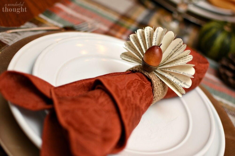 thanksgiving napkin rings book page acorn turkeys a. Black Bedroom Furniture Sets. Home Design Ideas