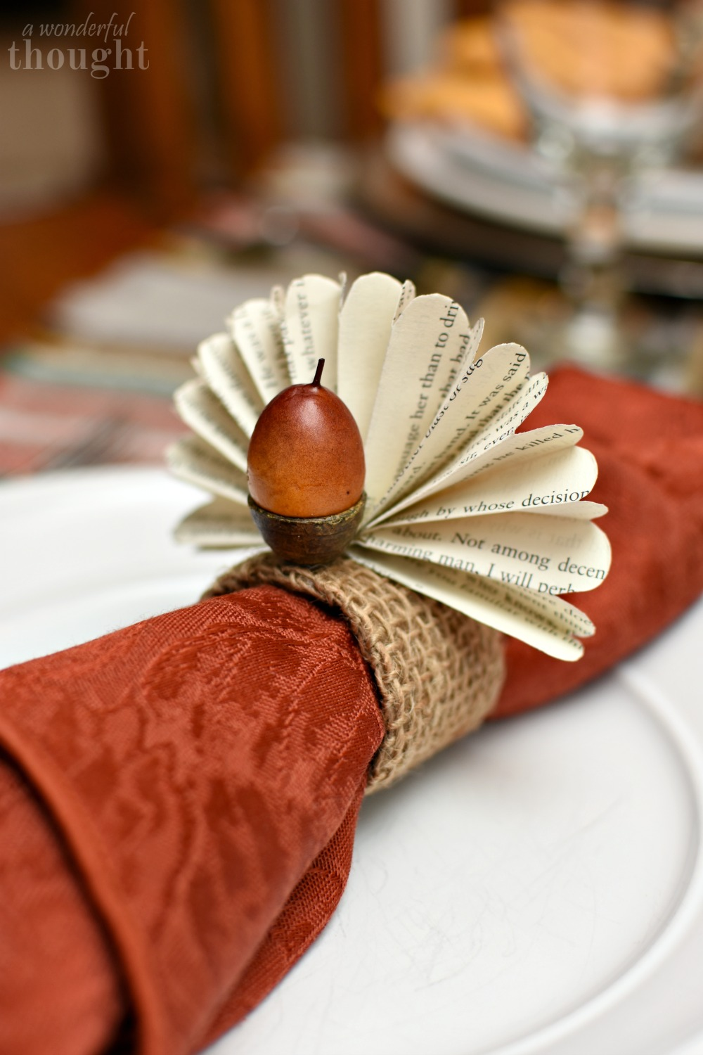 Thanksgiving napkin rings book page acorn turkeys a for Napkin rings for thanksgiving