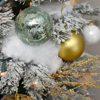Silver, Gold and Light Green Snowy Christmas Tree
