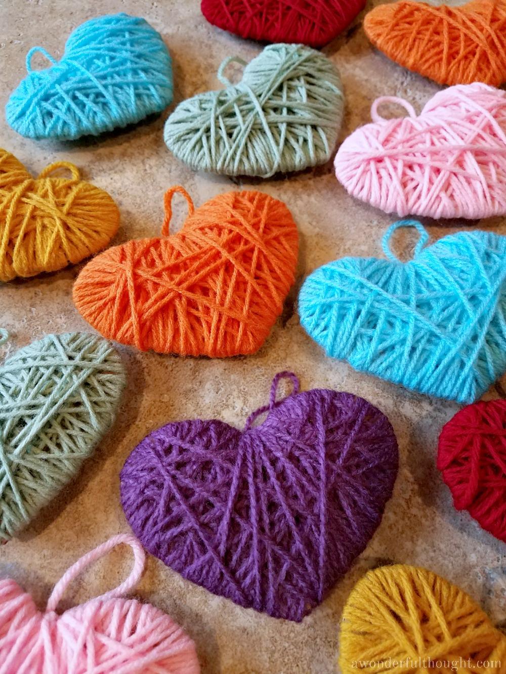 Multicolored Yarn Heart Garland - A Wonderful Thought