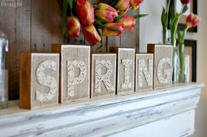 DIY Spring Wooden Blocks #springdecor #spring #woodblocks #woodsign #springmantel #awonderfulthought